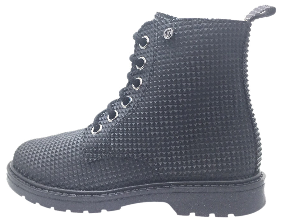 Naturino Girl's Black Geometric 3D Leather Combat Laced Boot with Zipper