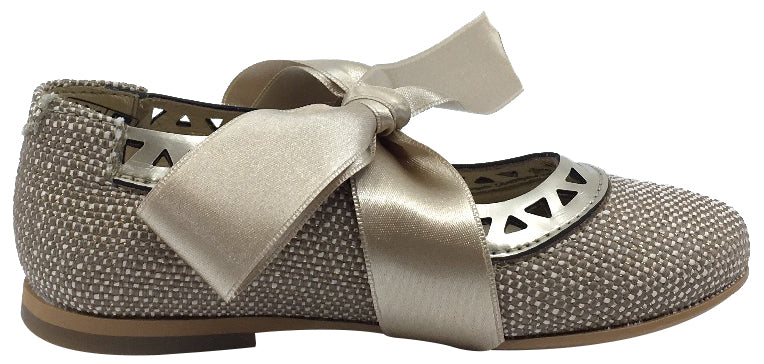 Luccini Beige Linen with Gold Trim Bow Tie Flats