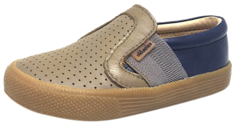Old Soles Boy's and Girl's 1056 Grey Denim Perforated Leather Praise Hoff Slip On Elastic Loafer Sneaker