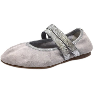 Papanatas by Eli Girl's Silver Grey Double Elastic Soft Suede Slip On Mary Jane Ballet Flats - Just Shoes for Kids  - 1