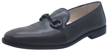 Hoo Shoes Boy's Eric Smooth Grey Leather High Shine Slip On Upper Detail Oxford Loafer Shoe