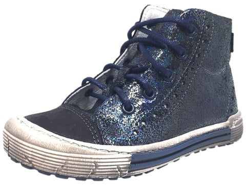 Emel Girl's Navy Metallic Shimmer Sparkle Leather Lace Up Side Zipper High Top Sneaker