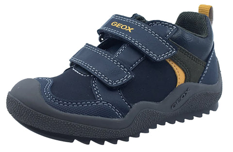 Geox Boy's J Artach Double Velcro Hook and Loop Sneaker Shoes, Navy/Yellow