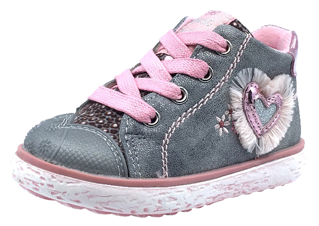 Beeko Girl's Bambi Side Zip Heart Sneaker Shoes, Grey