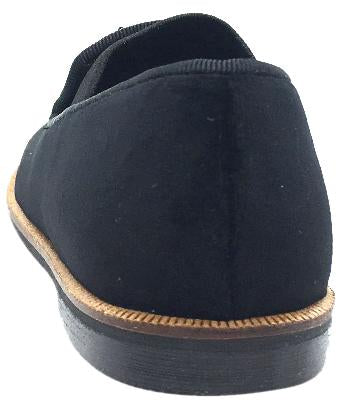 Luccini Boy's & Girl's Black Velvet Leather Lined Smoking Loafer Flats