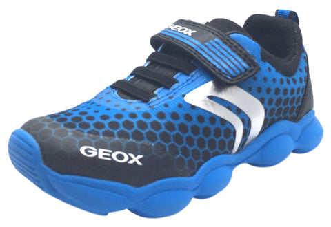 Geox Boy's Munfrey Light Blue Black Polka Dot Mesh Double Hook and Loop Strap Sporty Low Top Breathable Sneaker