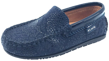 Atlanta Mocassin Girl's & Boy's Navy Pebble Printed Leather with Patent Trim Slip On Moccasin Loafer Shoe
