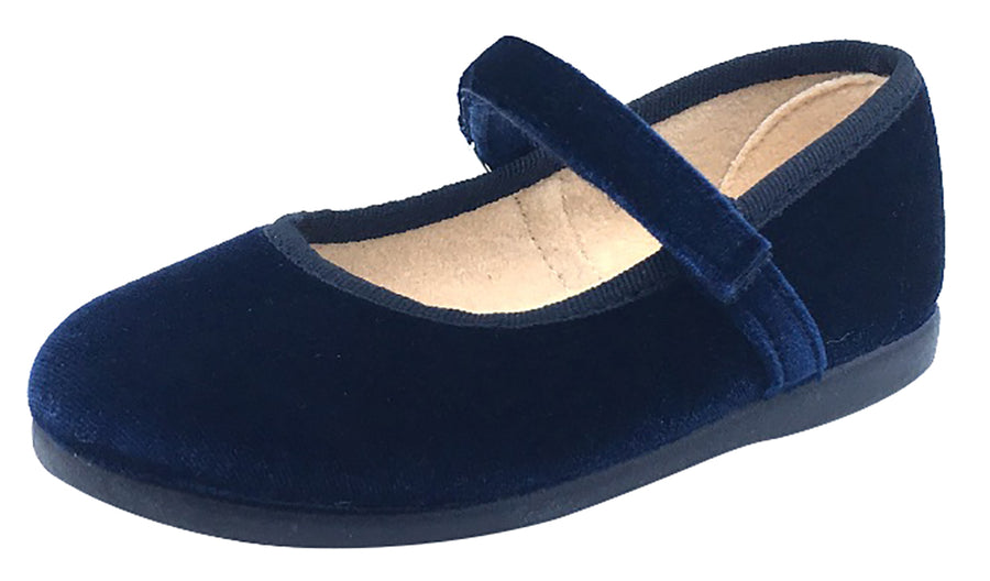 ChildrenChic Girl's Hook and Loop Mary Jane, Navy Blue Velvet