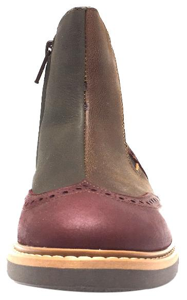 BluBlonc Girl's & Boy's Burgundy Tan & Olive Leather Tri-Color Zippered Short Ankle Boots