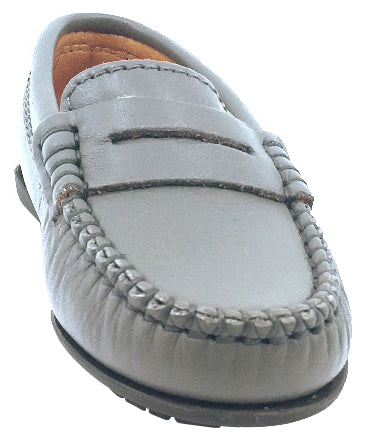 Atlanta Mocassin Boy's & Girl's Grey Smooth Slip On Moccasin Penny Loafer Shoe