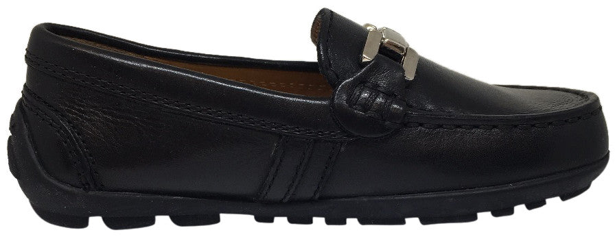 Geox Respira Boy's Black Smooth Leather Upper Detail Slip On Dress Moccasin Loafer Shoe
