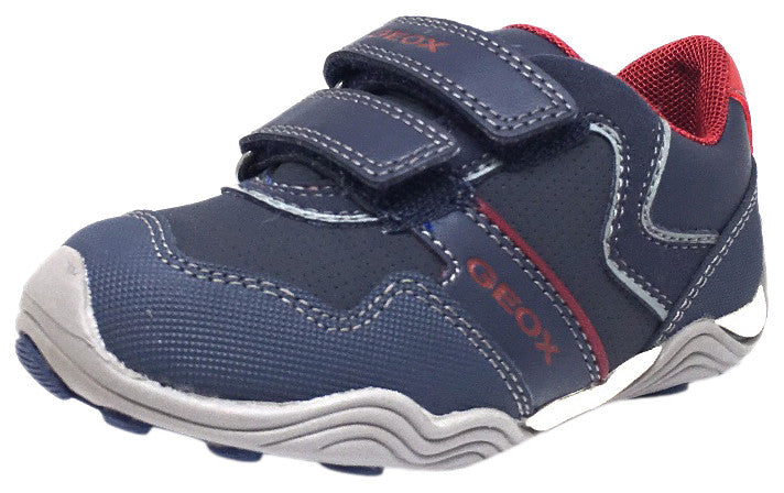 Geox Respira Boy's J Arno Leather Perforated Double Hook and Loop Sneaker Shoe inches, Navy - Just Shoes for Kids  - 1