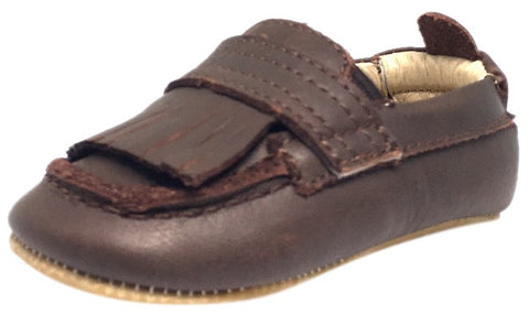 Old Soles Boy's and Girl's Distressed Brown Leather Bambini Domain Tassel Fringe Loafer Crib Walker Baby Shoe