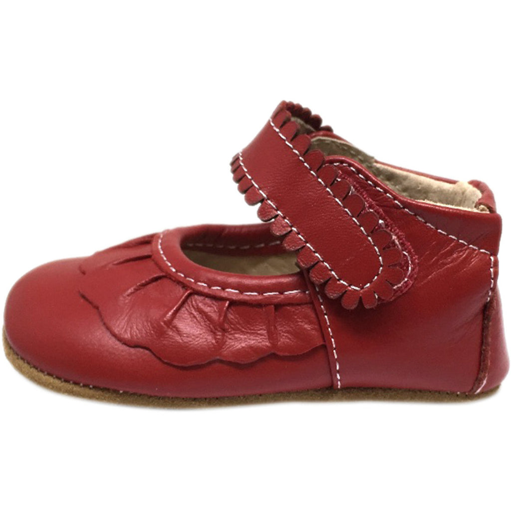 Livie & Luca Girl's Ruche Ruffled Leather Hook and Loop Mary Jane Shoe Red - Just Shoes for Kids  - 2