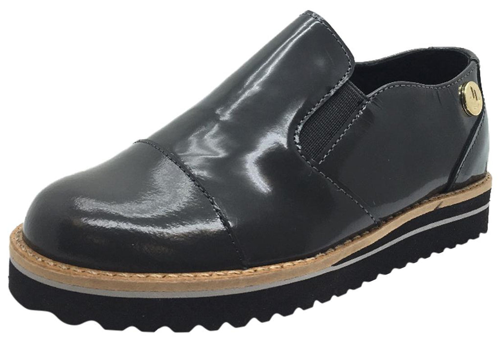 Luccini Boy's & Girl's Grey Patent Leather Platform Smoking Loafer Flats