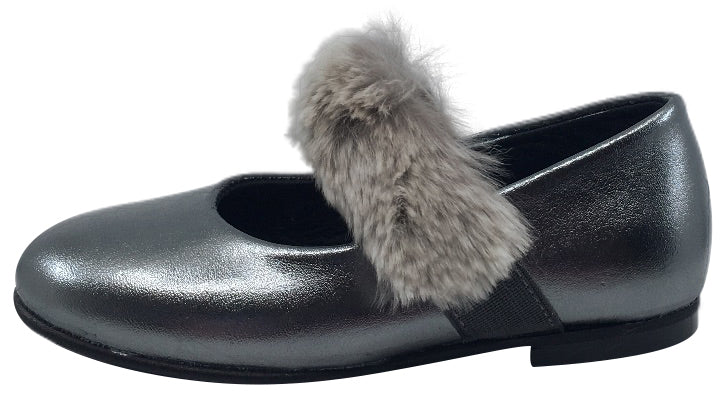 Luccini Girl's Slip-On Mary Jane with Fur Trim (Silver Leather)
