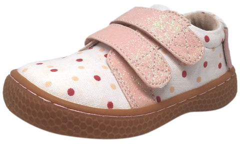 Livie & Luca Girl's Peppy White Pink Canvas Polka Dot Sparkle Double Hook and Loop Sneaker Shoe