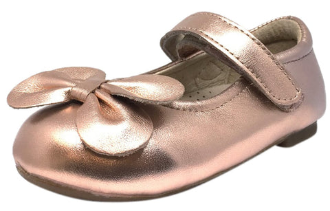 Old Soles Girl's Flower Girl Copper Metallic Leather Bow Hook and Loop Mary Jane Flat