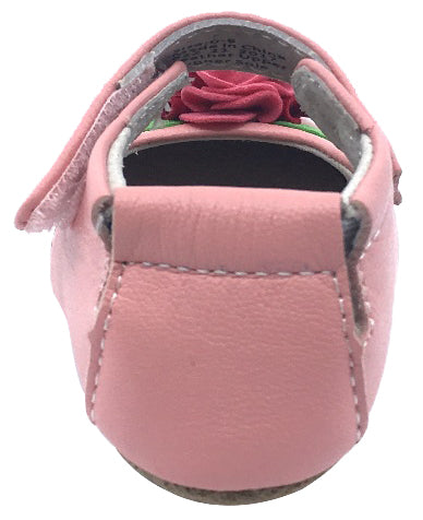 Livie & Luca Girl's Rosa Light Pink Smooth Leather Felt Flower Bud Hook and Loop Mary Jane Shoe