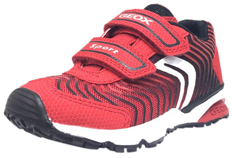 Geox Boy's Bernie Red & Black Double Hook and Loop Strap Sneaker