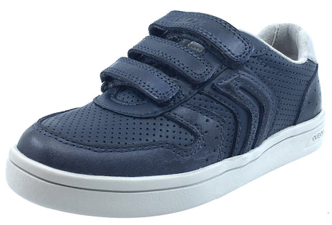 Geox Boy's DJ Rock 2 Navy Blue Triple Hook and Loop Sneaker
