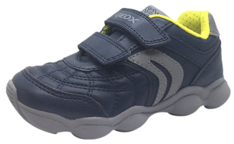 Geox Boy's Munfrey Leather Navy Grey Double Hook and Loop Strap Sporty Spiderweb Low Top Breathable Sneaker