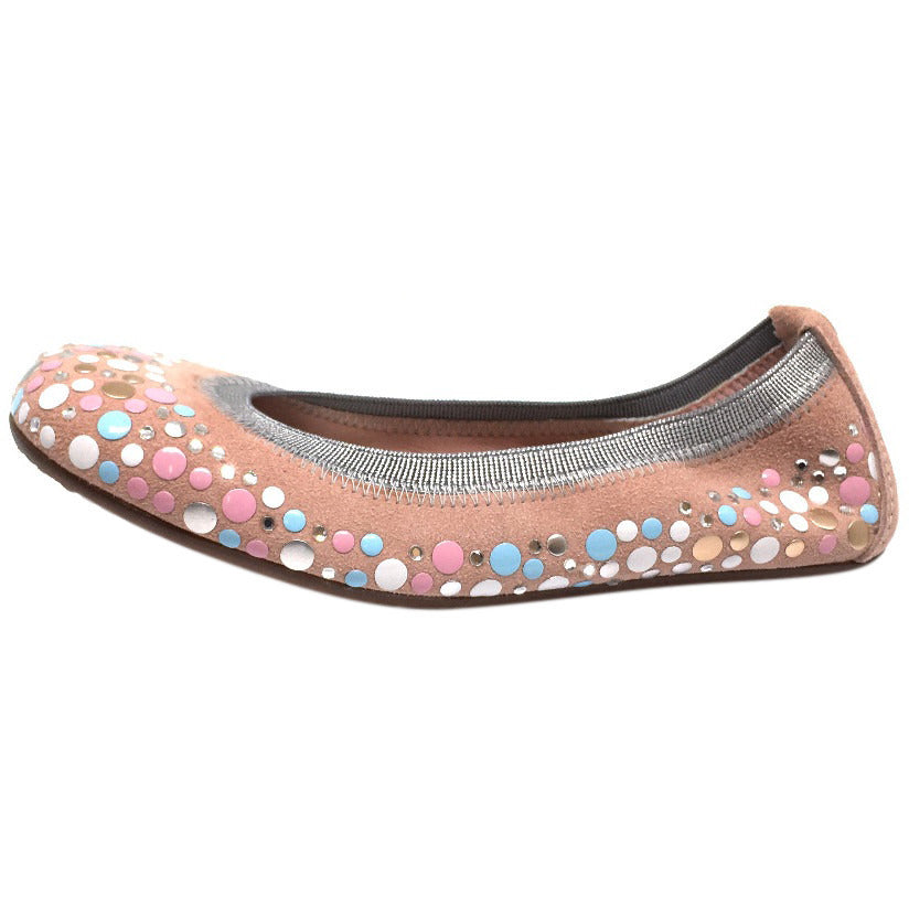 Papanatas by Eli Girl's Pink Soft Suede Gem Sparkle Polka Dot Detail Slip On Ballet Flats - Just Shoes for Kids  - 2