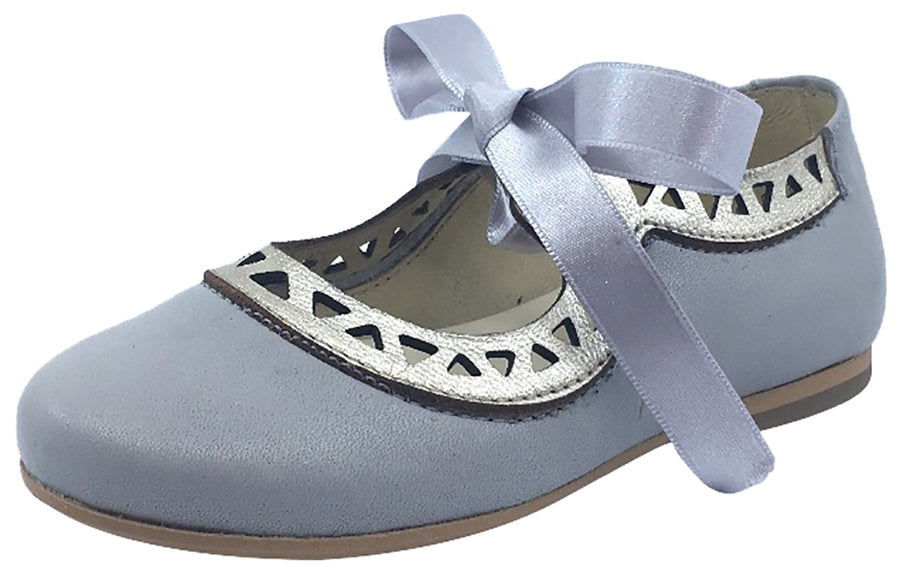 Luccini Grey Leather with Gold Trim Bow Tie Flats