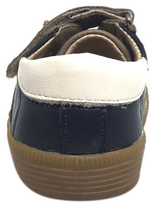 Old Soles Boy's and Girl's Navy Taupe Leather Casting Shoe Lace Up Hook and Loop Stripe Slip On Sneaker