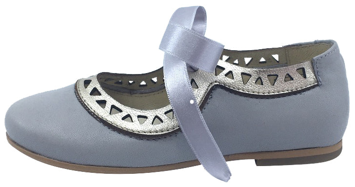Luccini Girl's Grey Leather with Gold Trim Bow Tie Flats
