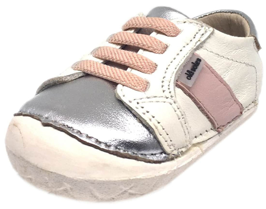 Old Soles Girl's Hipster Pave White Pink Leather Elastic Laces Slip On Walker Baby Shoe Sneaker
