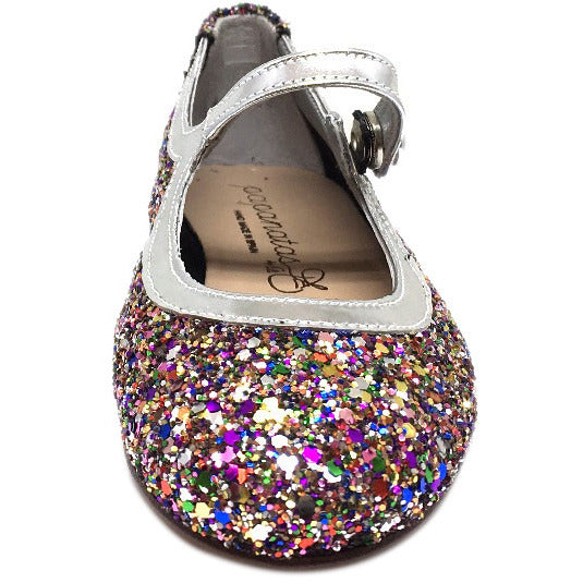Papanatas by Eli Girl's Bright Silver Multi Glitter Mary Janes Button Flats - Just Shoes for Kids  - 3