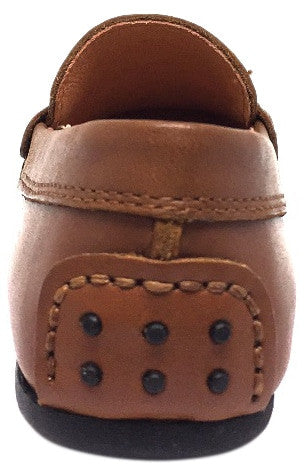 Umi Boy's Cognac Leather Studded Fabric Racing Stripe Slip On Moccasin Loafer