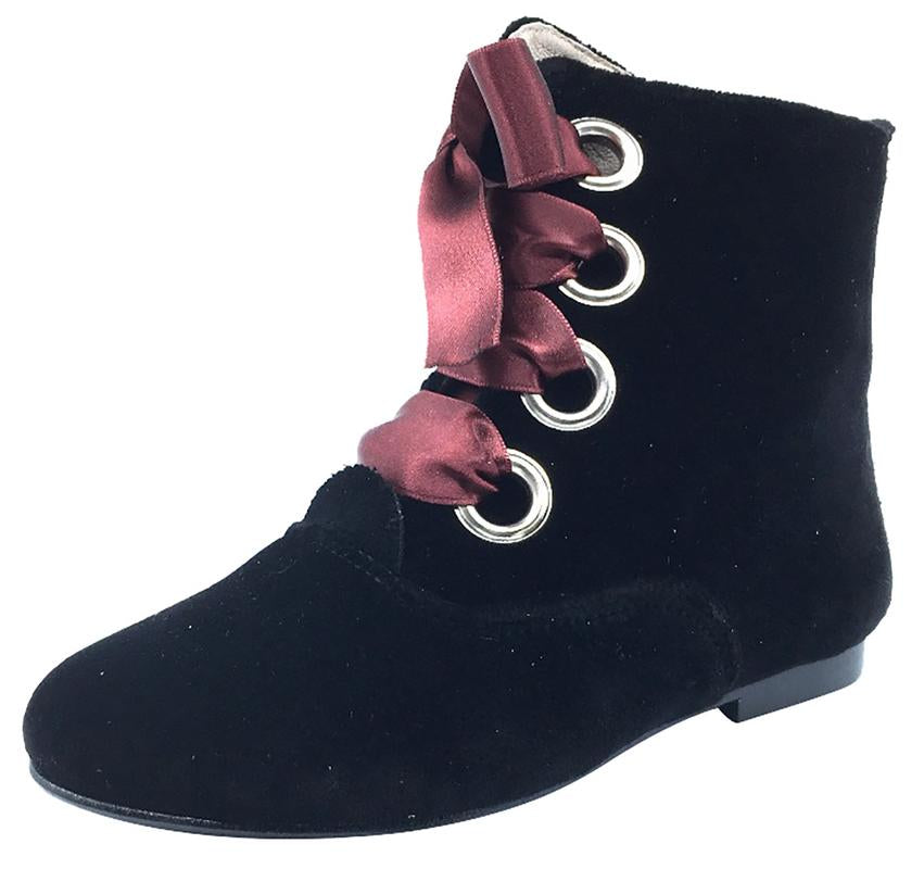 Hoo Shoes Girl's Ribbon Lace-Up Booties