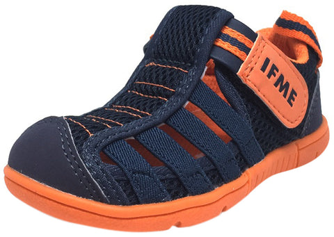 IFME Boy's & Girl's Playa Navy Cobalt and Orange Venice Elastic Lace Mesh Hook and Loop Fisherman Style Sandal