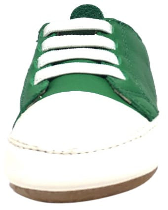 Old Soles Boy's and Girl's 106R Eazy Jogger Green White Soft Leather Crib Walker Baby Shoes