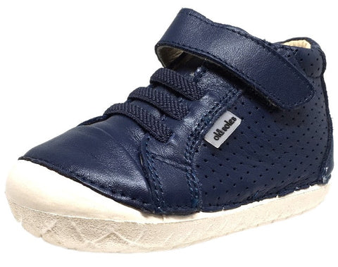 Old Soles Boy's and Girl's Pave Cheer Denim Navy Leather High Top Elastic Hook and Loop Walker Baby Shoe Sneaker