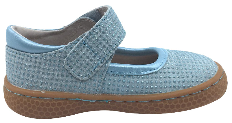 Livie & Luca Girl's Gemma Light Blue Sparkle Suede Casual Mary Jane Flat Shoes