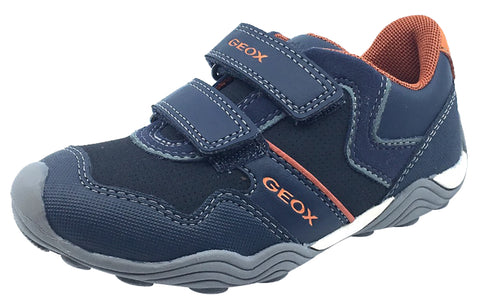 GEOX Boy's Arno Hook and Loop Sneaker (Navy/Dark Orange)