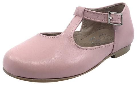 1fa9055d8279 Hoo Shoes Girl s Dee Rose Pink Leather Asymmetrical T-Strap Mary Jane Flat  Shoe