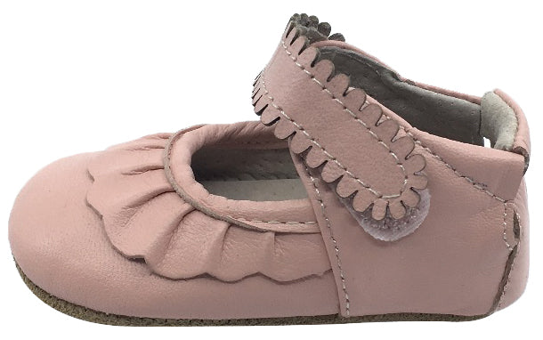 Livie & Luca Girl's Ruche Shell Pink Smooth Leather Ruffle Trimmed Hook and Loop Mary Jane Shoe