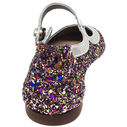 Papanatas by Eli Girl's Bright Silver Multi Glitter Mary Janes Button Flats - Just Shoes for Kids  - 4
