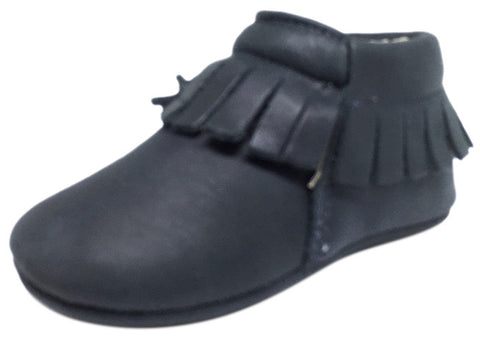 Old Soles Girl's and Boy's 090 Fringe Boot Navy Blue Soft Leather Slip On Crib Walker Baby Shoes Booties
