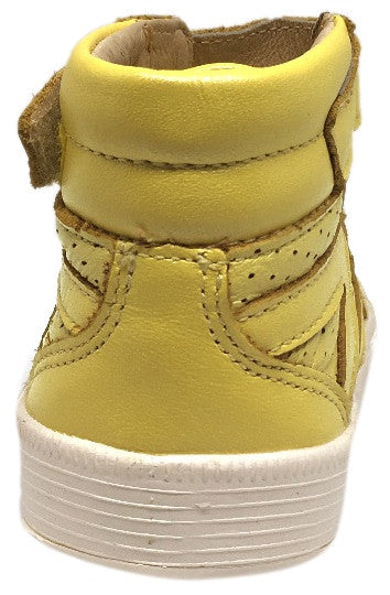 Old Soles Boy's and Girl's Star Jumper Lemon Yellow Leather Elastic Lace Hook and Loop High Top Sneaker
