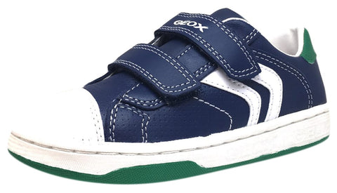 Geox Boy's Maltin Navy & Green Double Hook and Loop Strap Sneaker Shoe