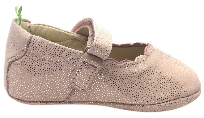 Tip Toey Joey Girl's Roundy Pink Stars Pink Dream Scalloped Trim Leather Hook and Loop Mary Jane Flat