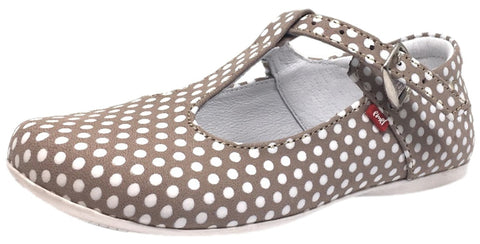 Emel Girl's Polka Dot Light Tan Leather T-Strap Mary Jane Shoe