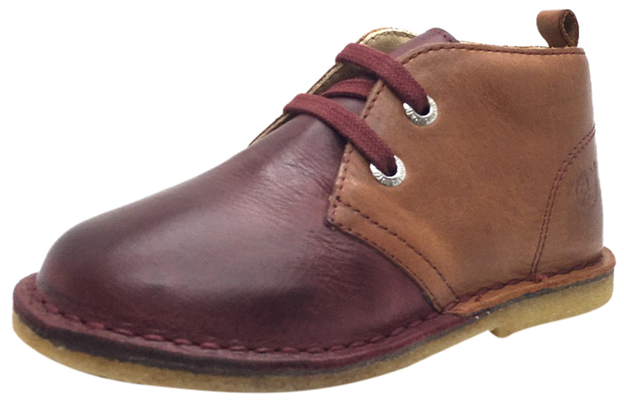 Naturino Boy's 9214 Maroon Brown Tan Smooth Leather Dual Colored Distressed Classic Lace Up Ankle Boot