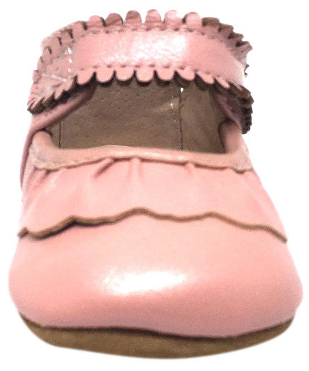 Livie & Luca Girl's Ruche Ruffled Light Pink Shimmer Leather Hook and Loop Mary Jane Shoe