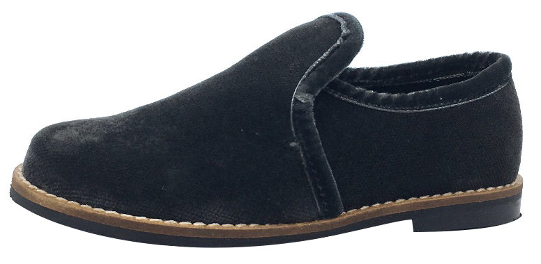 Luccini Boy's and Girl's Slip-On Loafer (Dark Grey Velvet)